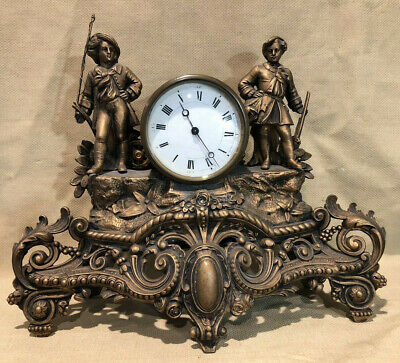Antique French Gilt Figural Mantle Clock By Brunfaut - Swiss Time Piece