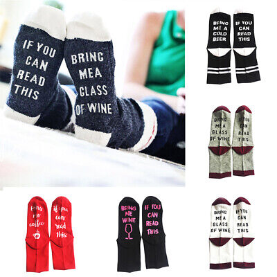 Women Men Casual Funny Cotton Socks If You Can Read This Bring Me A Beer Letter
