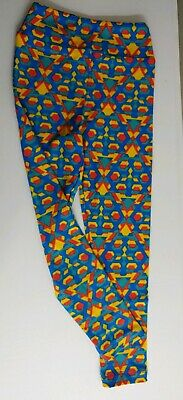 EUC LuLaRoe Girls Multi-Color Polyester Blend Tribal Geometric Leggings Sz S/M