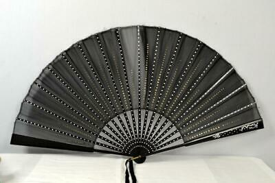 Antique folding hand fan black wood sequin sheer fabric silver paint