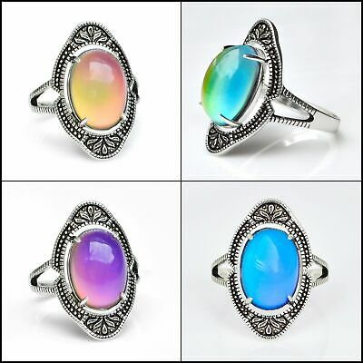 Vintage Style  Sterling Silver Plating Brass Oval Stone Mood Ring Adjustable