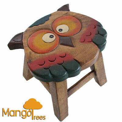 Solid Timber Wooden Kids Toddler Adult Animal Shoes Changing Stool Toy Chair Owl