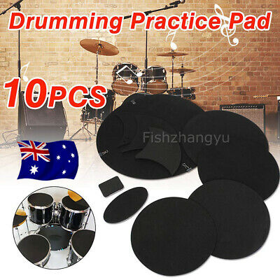 10x Bass Drums Sound off Quiet Mute Silencer Drumming Rubber Practice Pad Set