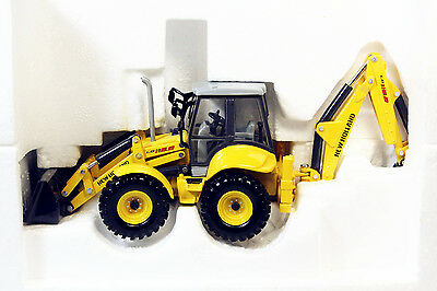 DIECAST MODEL NEW HOLLAND CONSTRUCTION EXCAVATRICE SUR ROUES WE170 1//87 eme