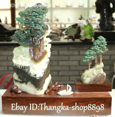 Exquisite Pure Natural Green Dushan Jade People Man Mountain Tree Ship Boat Pair
