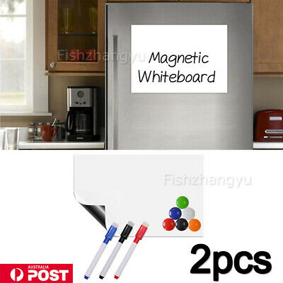 2X A4 Marker Message Board Magnetic Fridge Soft Whiteboard Home Office Memo OZ