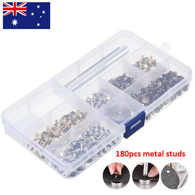 180Pcs/Set Leather Double Cap Rivets Tubular Metal Studs Fixing Tool Kit Craft