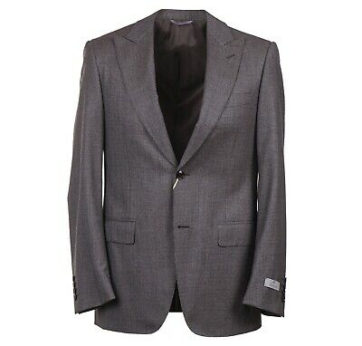 NWT $2095 CANALI 1934 Brown Houndstooth Peak Lapel Wool Suit 38 R Classic-Fit