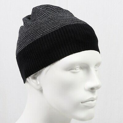 5a0ec31fcb277 Barneys New York 100% Merino Wool Cap Beanie Hat Mens Unisex Gray Black NWOT