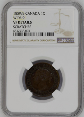 1859/8 Wide 9 Canada 1C NGC VF Details One Large Cent Free Shipping!