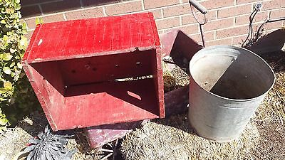 Vintage Old Wooden Red Crate Painted Display Shabby Chic Chippy Paint 16X12X10