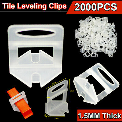 2000pcs 1.5mm Tile Leveling Clips System Levelling Spacer Tool Floor Wall Tiling