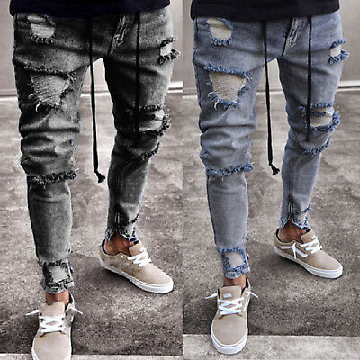 Mens Stretchy Ripped Skinny Biker Jeans Pants Destroyed Slim Denim Long Trousers