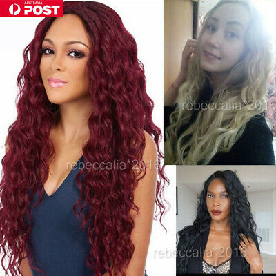 Women Long Wavy Curly Full Hair Wigs Black Brown Lady Synthetic Cosplay Wig OZ O