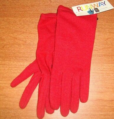 * XL Womens Solid Red RUNWAY echo I Touch Screen Gloves I-phone Wool Blend Wrist