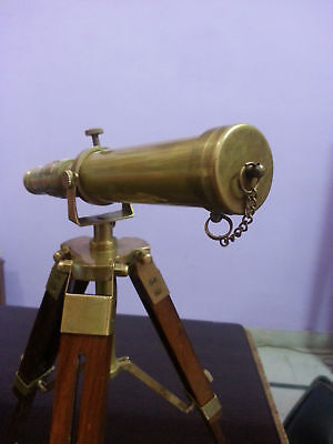 Handmade Solid Brass Nautical Telescope With Wooden Tripod Desk Astrolabe Gift