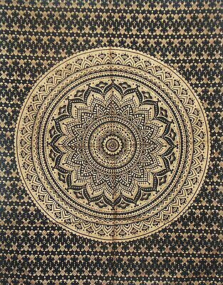 Ombre Mandala Black Gold Color Wall Hanging Cotton Small Tapestry Poster Indian
