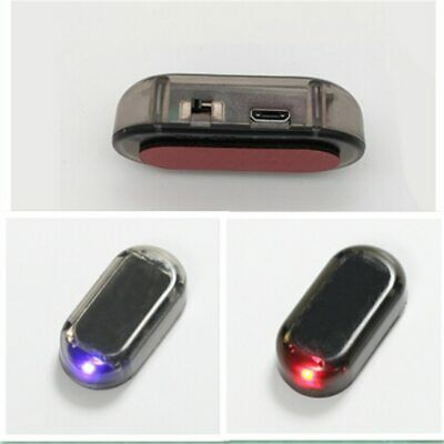 Solar USB Power Car Alarm Light Car Led Light Flash Blinking Lamp Red Blue New