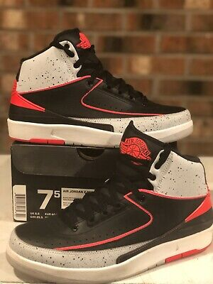 77e385b147b676 NIKE AIR JORDAN II 2 RETRO INFRARED 23 BLACK White 385475-023 Size 7.5