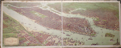 Large double-size antique school wall chart poster New York original +-1910