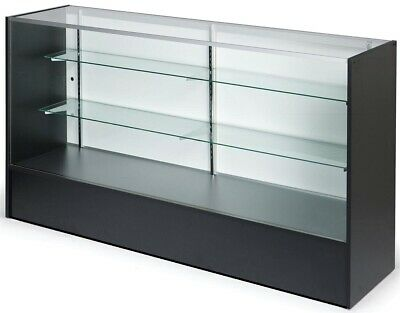 Glass & Timber Display Counter Showcase Black 1520mm