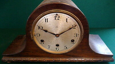 """GERMAN"" CHIMING  ROSEWOOD MANTEL CLOCK.  Napolean Style Top, Works & Chimes"""