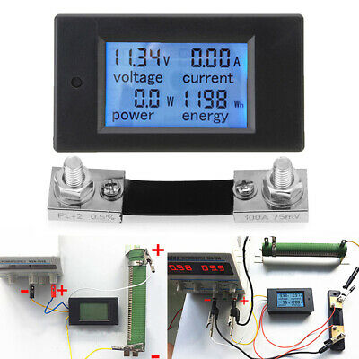 DC 0-100A LCD Digital Combo Panel Display Volt Amp Power Watt Meter with Shunt