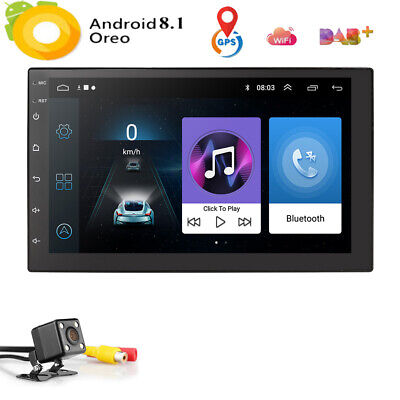 "7"" Android 8.1 Oreo Double 2Din InDash Car GPS Navigation Stereo Radio OBD2 E"
