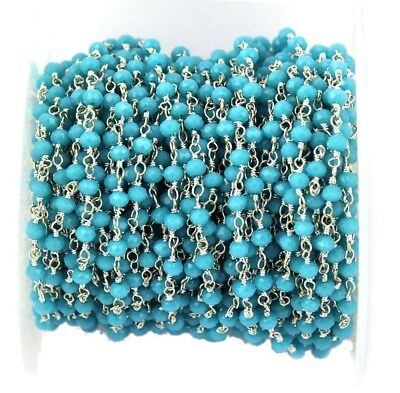 Ch018 Howlite Turquoise Round Beads Silver Plated Rosary Chain Making Jewelry