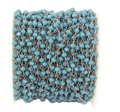 Ch004 Faceted Neon Apatite Quartz Beads Black Plated Rosary Chain Making Jewelry