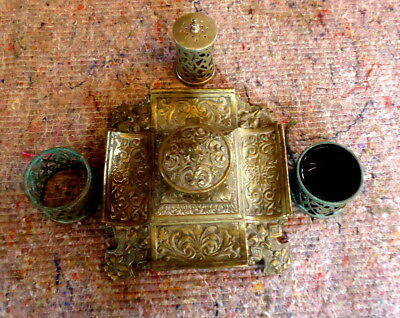 """""""VICTORIAN"""". Hinged Brass Ink and Pen Stand Together with Condiments, Inkwell"""