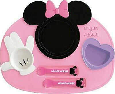 Feeding Japan Disney Baby Minnie Mickey Microwave Food Utensils Set Japan R34 Bowls & Plates