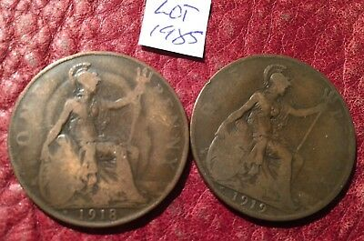 2 Heaton Mint George V Pennies 1918H And 1919H - Job Lot 1985