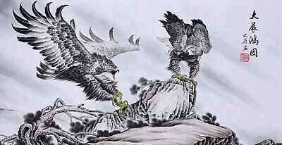 100% ORIENTAL FINE ART CHINESE FAMOUS WATERCOLOR PAINTING-Eagle Birds lover
