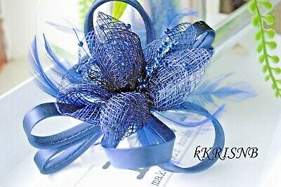 Beautiful Royal/Navy Blue/Nude pink loop flower/ feather fascinator clip/pin 963