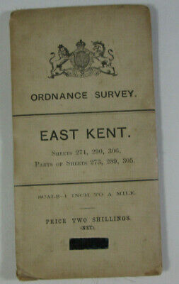1906 Antique OS Ordnance Survey One-Inch Third Edition Map East Kent 273 274 290