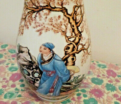 Vintage Chinese Porcelain Blossom Vase Man and Ladies under Tree