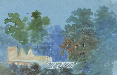 Glasshouse View Miniature - Original early 20th-century watercolour painting