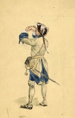 Leon Dux, French Infantryman - Original early 20th-century watercolour