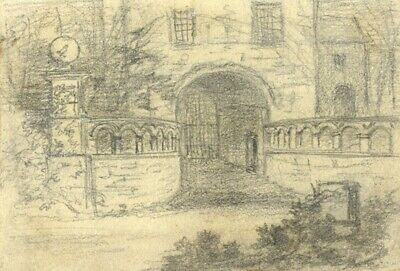 Thomas J. Marple, Stone Lodge Gate - Original late 19th-century graphite drawing