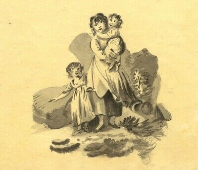 Eliza Mosley after George Morland, Mother & Children - 1806 watercolour painting
