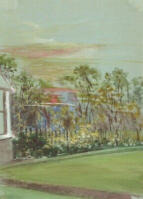 Garden at Sunset Miniature - Original early 20th-century watercolour painting