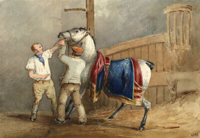 Charles Cooper Henderson, Carriage Horse - Mid-19th-century watercolour painting