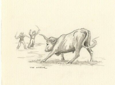 Claire Rome, Steer Bull with Figures - mid-20th-century watercolour painting