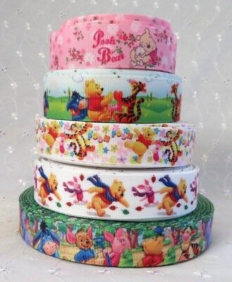 1m x WINNIE THE POOH PIGLET TIGGER EEYORE GROSGRAIN RIBBON 22mm CRAFTS CAKE GIFT