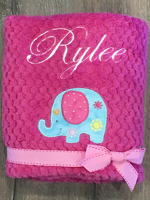 Personalised Baby Blanket - Embroidered- Excellent Quality-Pink- Elephant Design