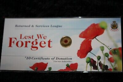 Australian Coins -  2012  Red Poppy Coin Remembrance Day RSL Card.