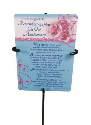 Grave Card & Holder Stake On Our Anniversary Stand Graveside Memorial Sympathy