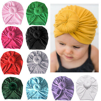 Infant Kids Newborn Baby Turban Knotted Head Wrap Headband India Hat Cotton Cap