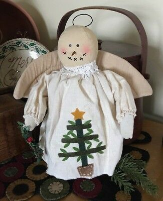 "Prim Angel Snow girl ~ muslin doll ~ feather tree & wreath ~ 10"" H"